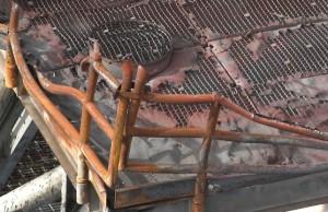Damaged flare deck handrails